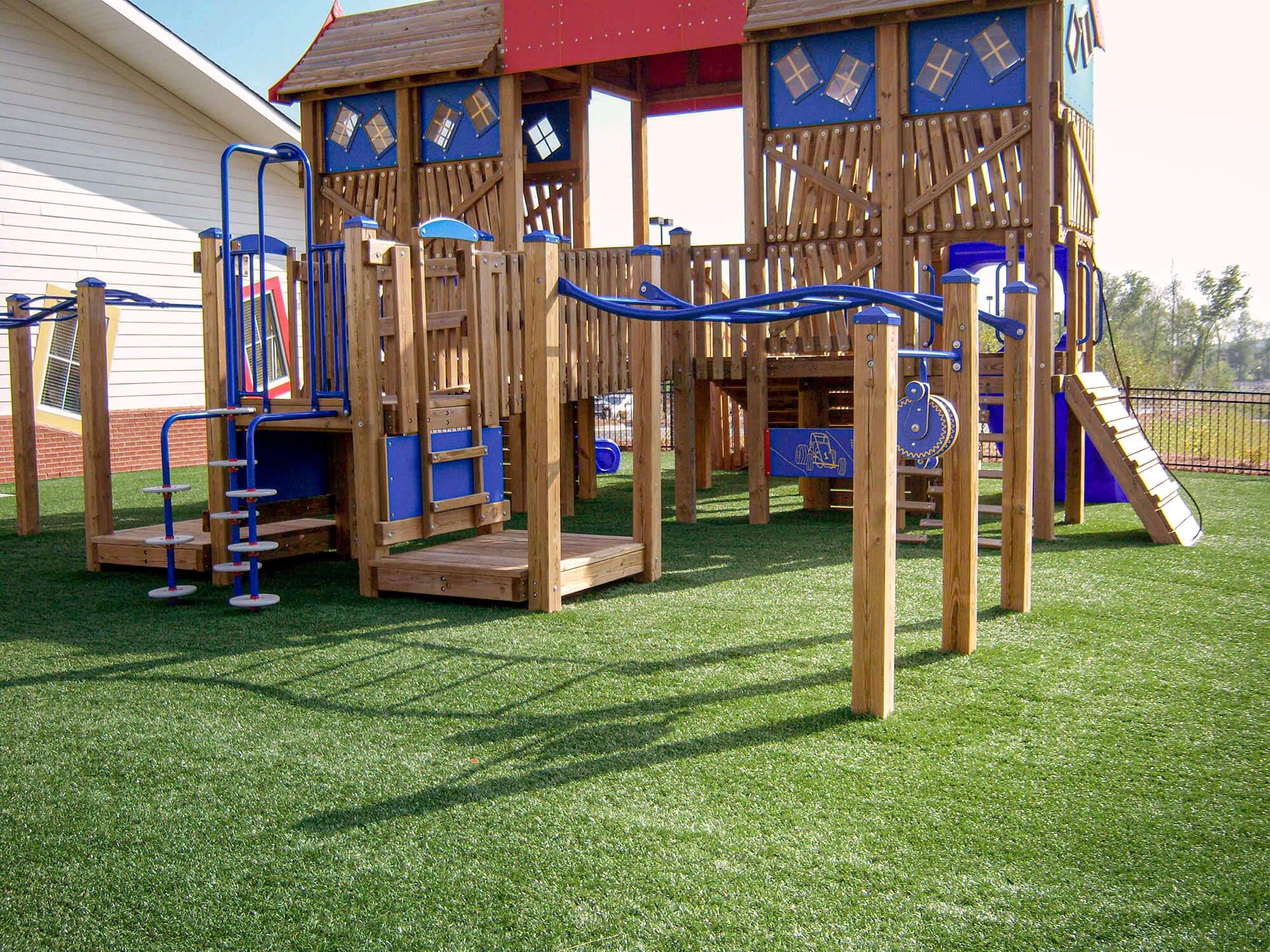 Kids playground jungle gym on turf