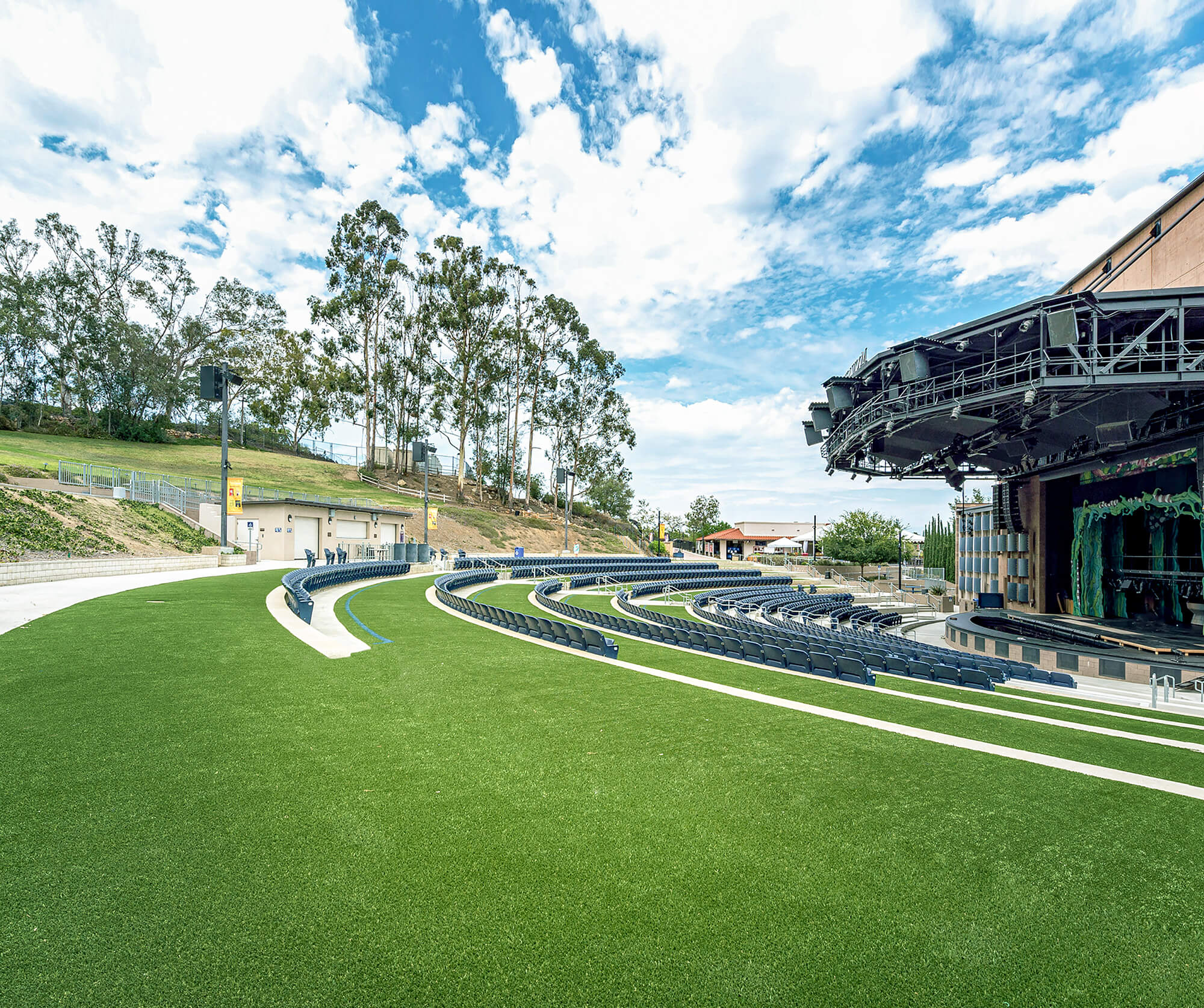 Outdoor amphitheater with turf surfacing