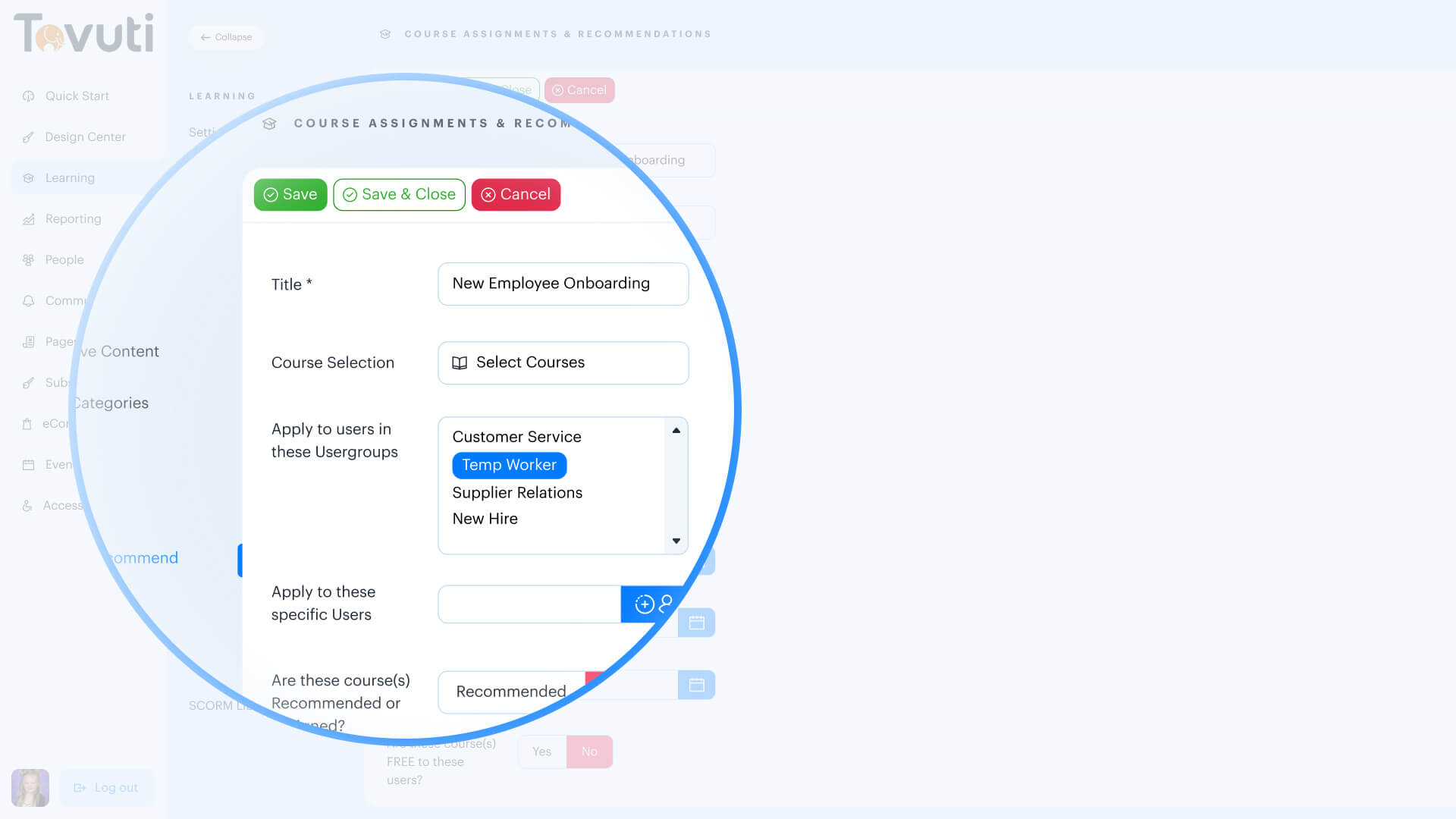 Tovuti LMS Dashboard Screenshot