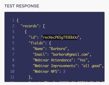 airtable webhook test response