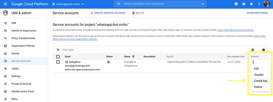 create-JSON-key-dialogflow