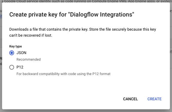 dialogflow JSON