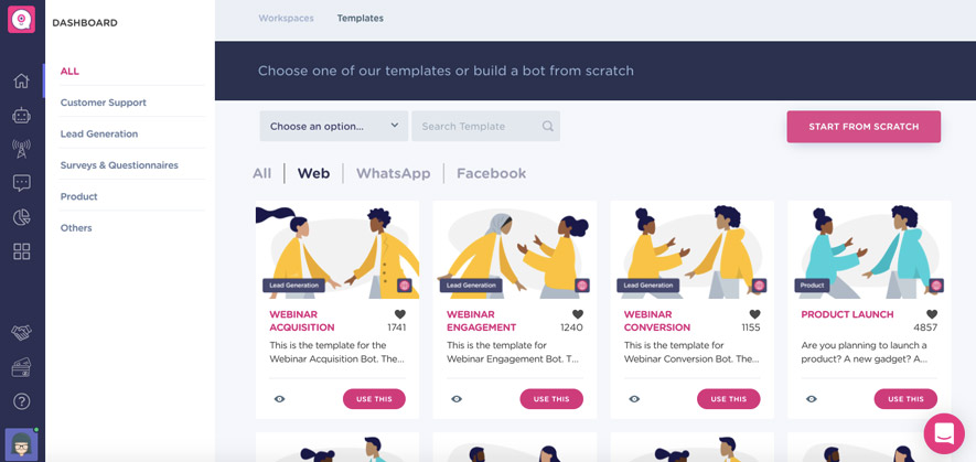 create a chatbot landing page