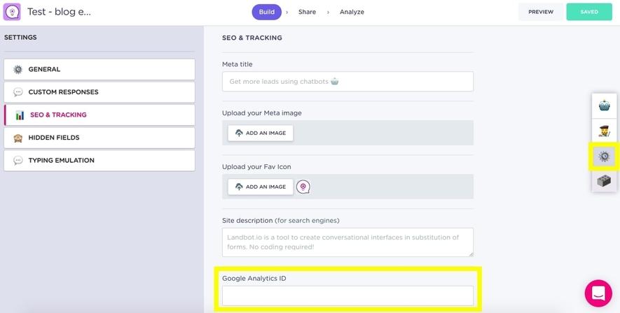 connect landbot to google analytics
