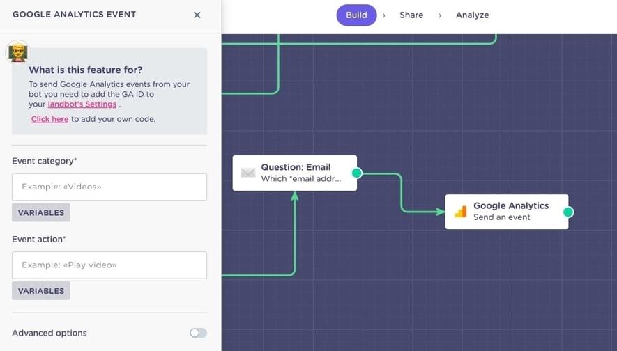 google analytics chatbot integration