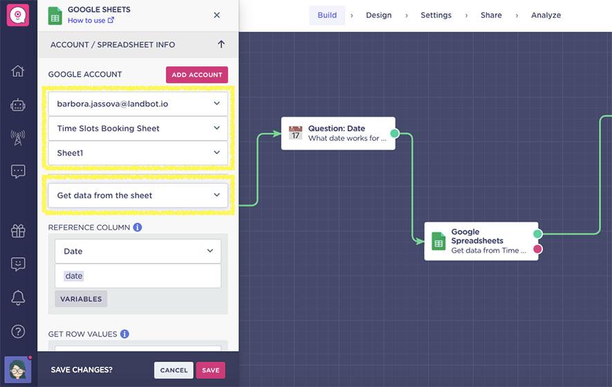 reservation-chatbot-get-data-from-spreadsheet-integration