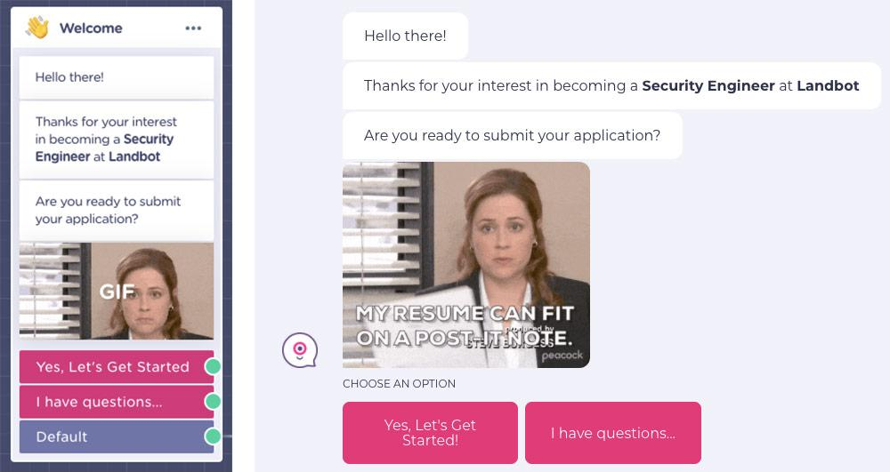 chatbot job application form