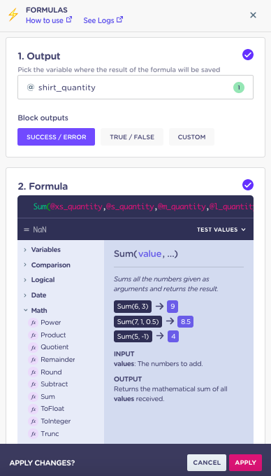 landbot formulas calculations