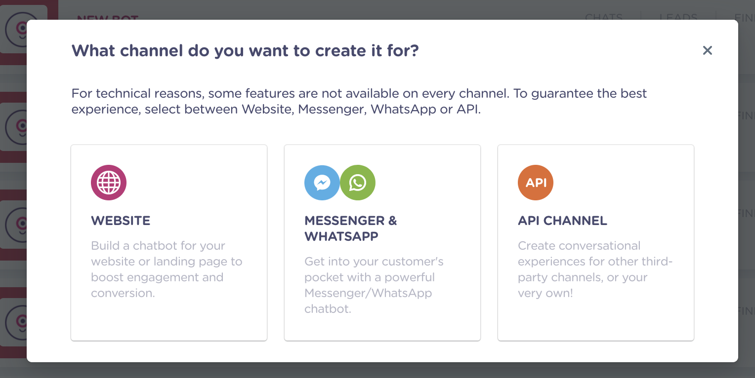 select channel for your quiz chatbot