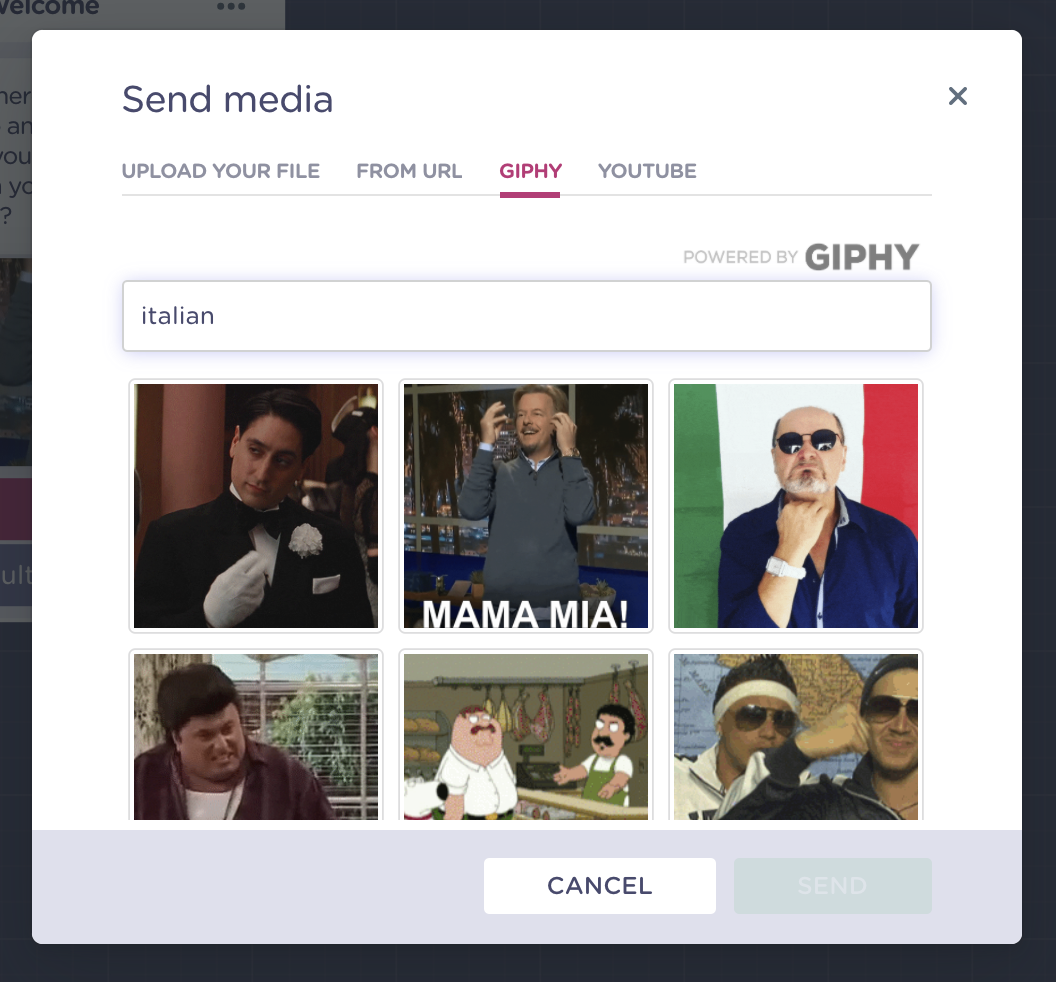 select gif for your chatbot welcome message