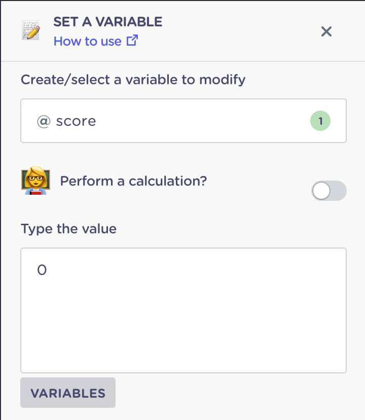 set the score value to zero