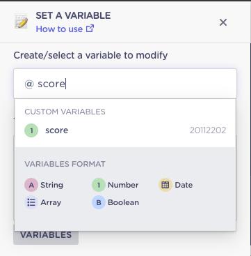select variable to modify