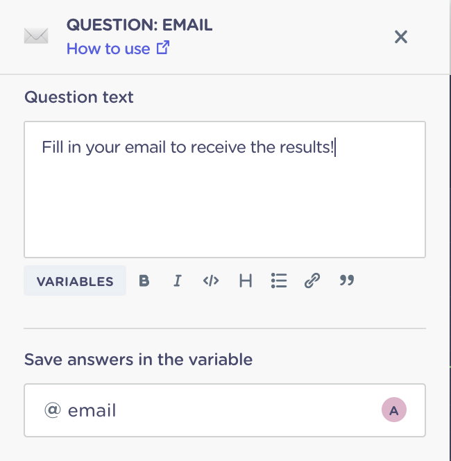email question block