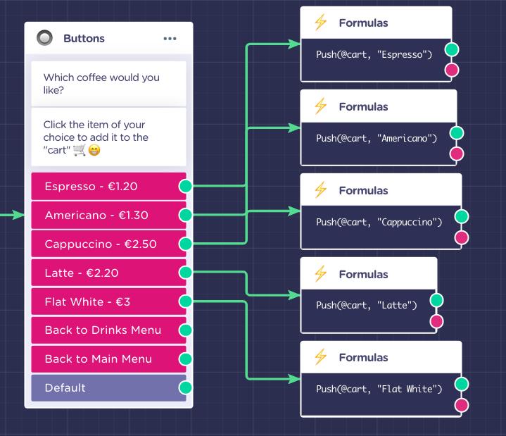 menu chatbot add to shopping cart