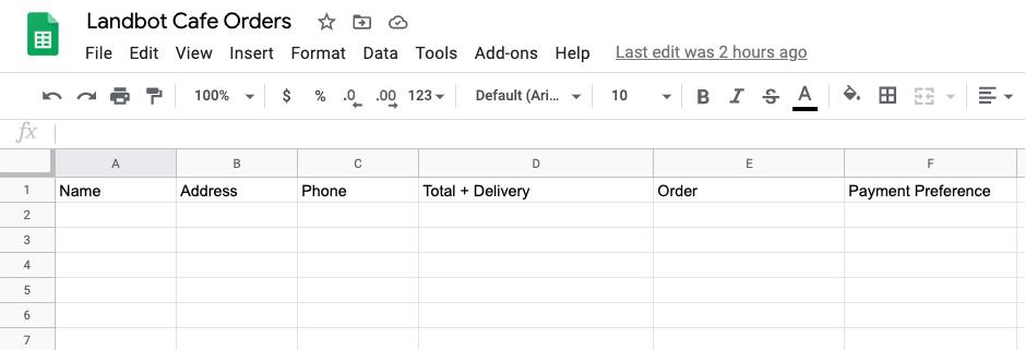 food delivery sheet integration