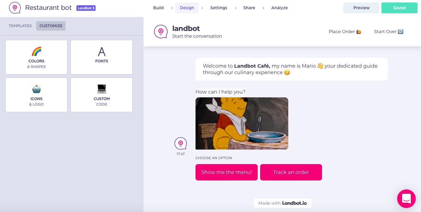 restaurant chatbot design