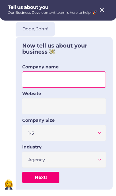 chatbot for business example