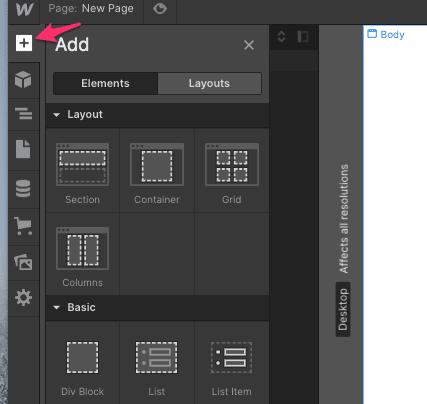 webflow layouts