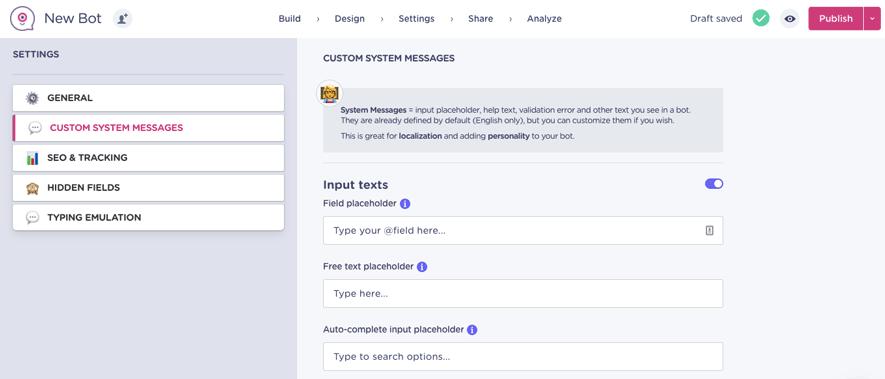 lndbot custom system messages