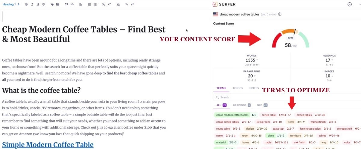 using SurferSEO editor to optimize content