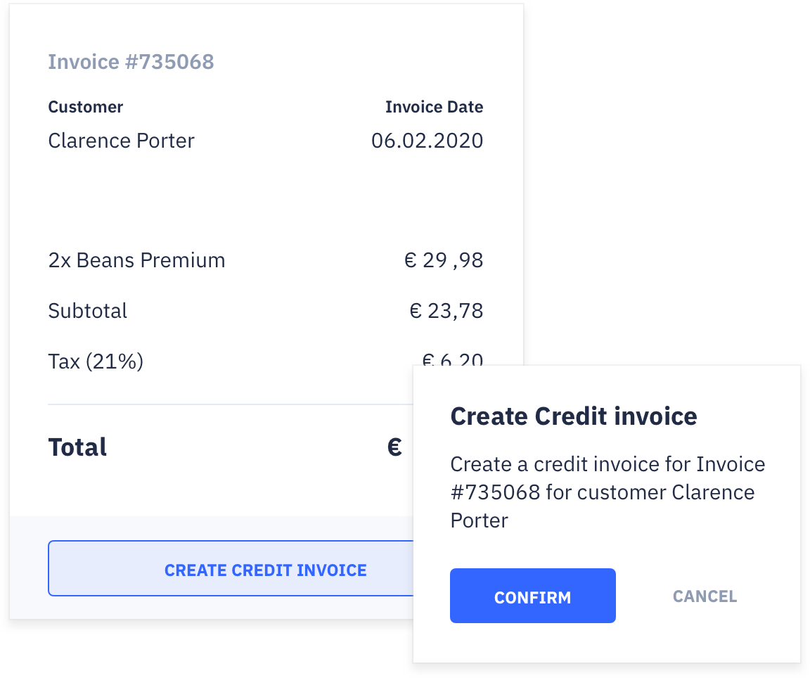 Invoices for chargebacks