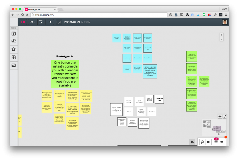 Virtual sticky notes on Murally