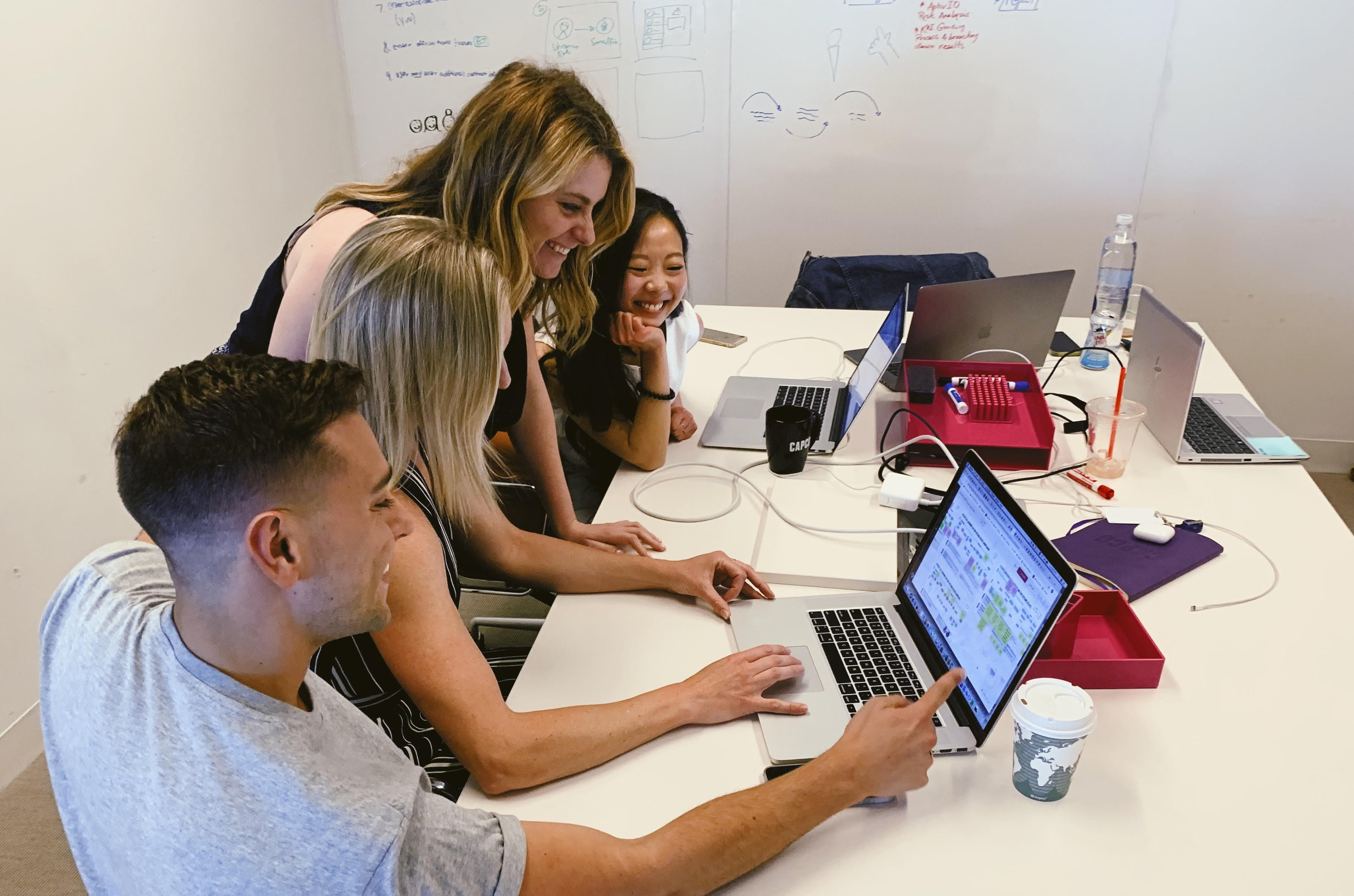 Capco's Design Thinking Project Lead Aoife Hogan with her team (Daniel LaBarbera, Zoe Yang, and MAdeline Kossakowski).