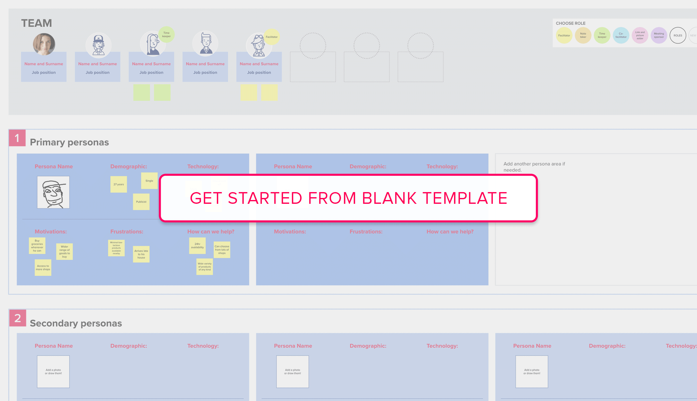Get started from Personas blank template