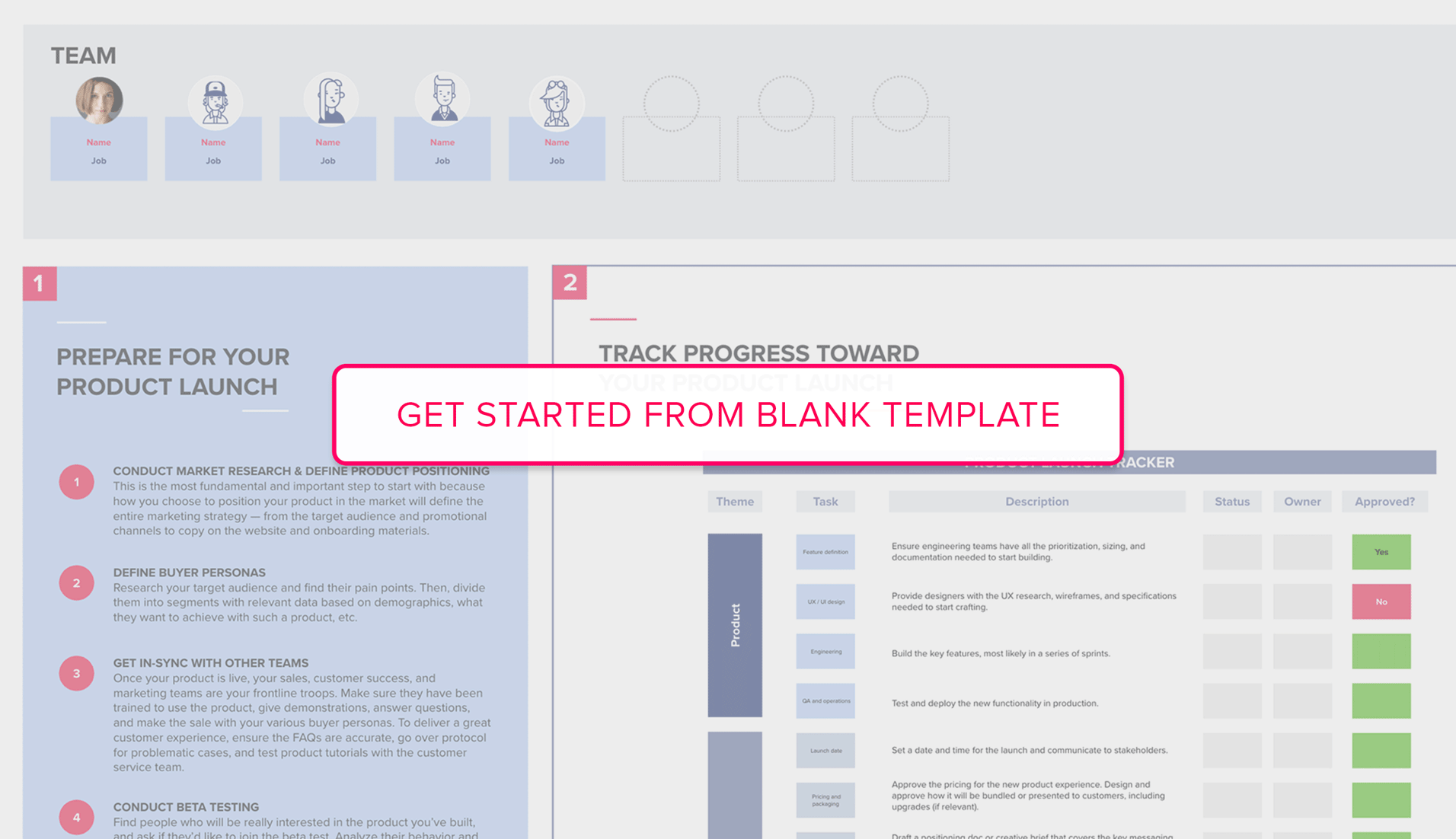 Get started from Product Launch blank template