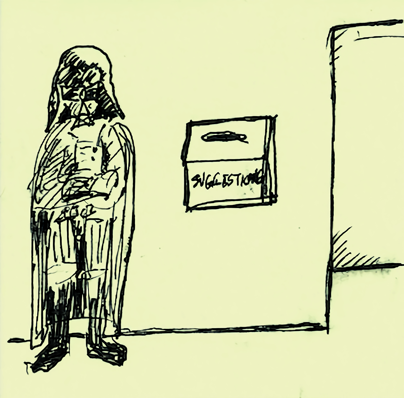 A drawing of Darth Vader standing by a suggestion box.