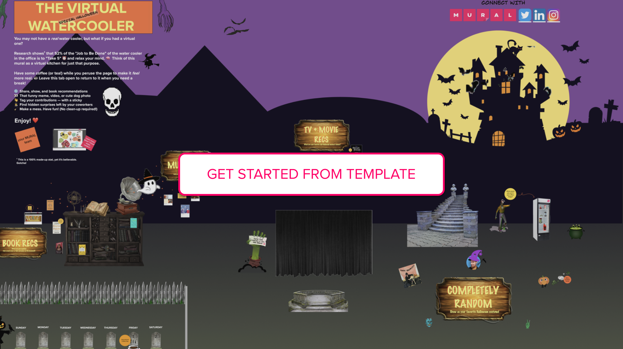 A visualization of the Halloween MURAL template and a call to action to click the image for the MURAL template.