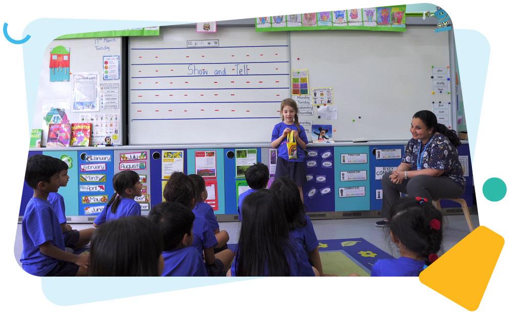 child-presenting-to-classmates