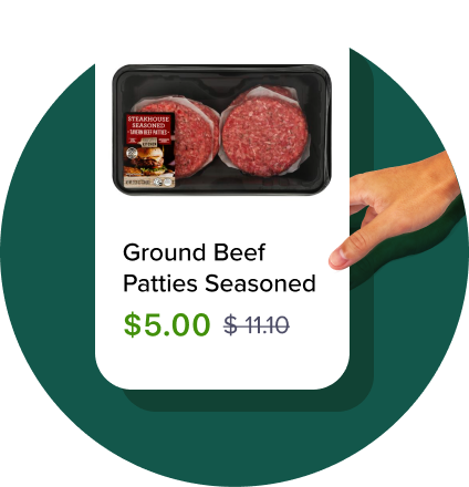 A hand grabbing a card that has Ground Beef Patties discounted to $5 from $11.10