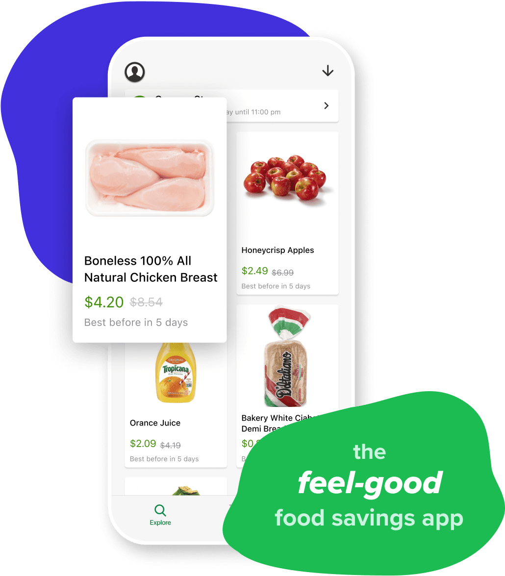 "The Flashfood app showing chicken breast discounted to $4.20 from $8.54 and a green bubble that days ""the feel-good-savings app"""