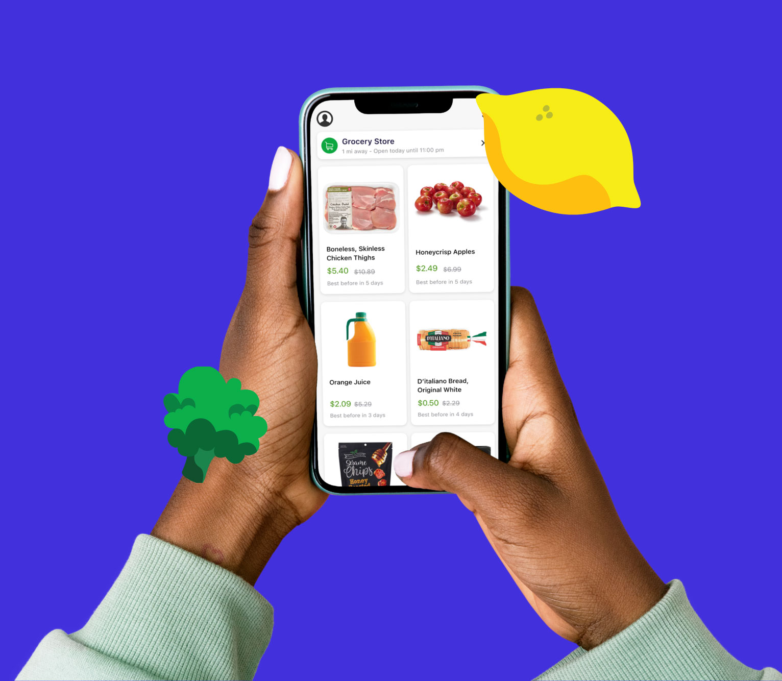 Hand holding phone with Flashfood app showing boneless chicken breast discounted to $4.20 from original $8.54 price