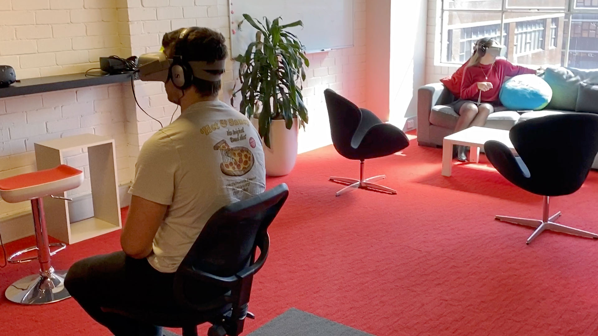 The team are testing a new immersive presentation tool we are developing