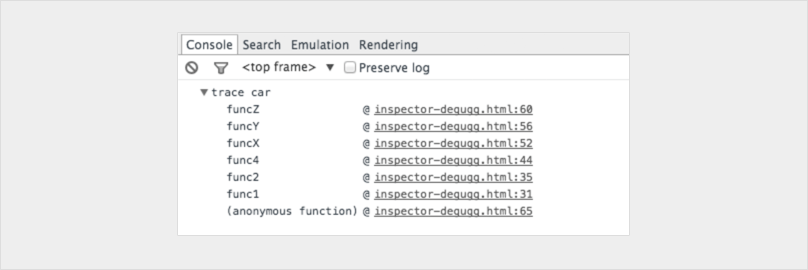 Get the stack trace for the function when debugging JavaScript