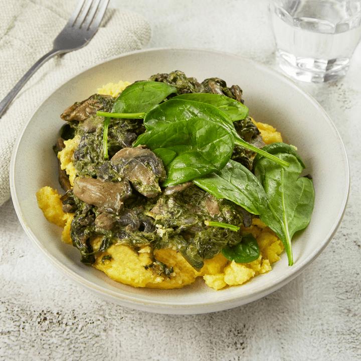 Polenta, champignons et épinards