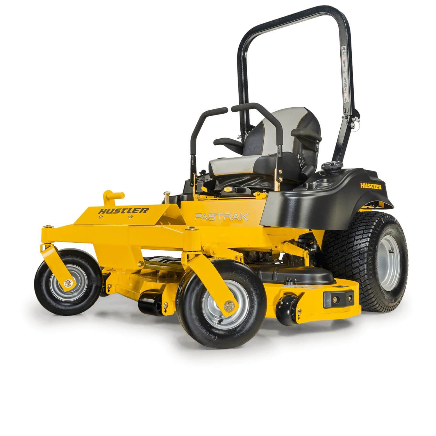 Image of front 3 quarters of a yellow mower showing the trim edge of the deck