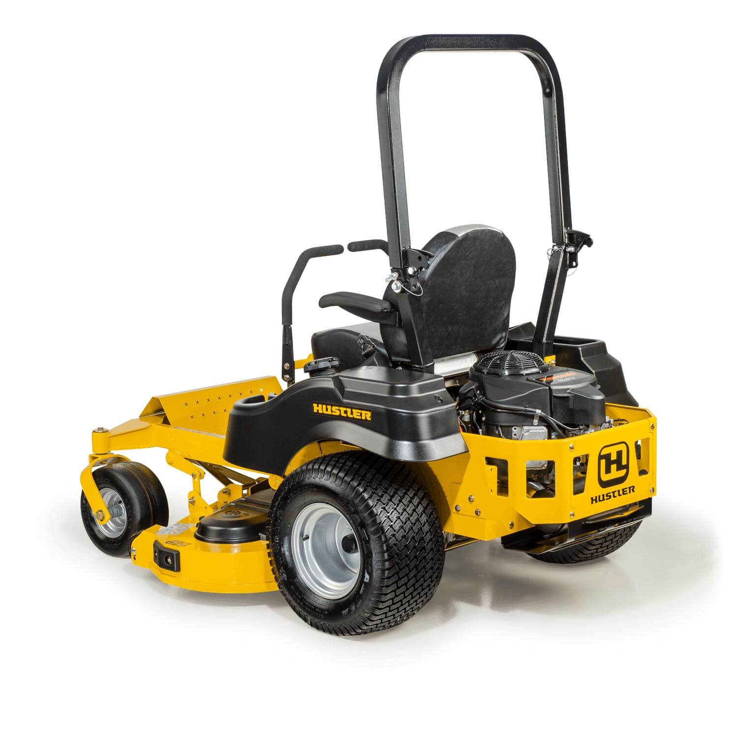 Image of rear 3 quarters of a yellow riding mower showing the trim edge of the deck