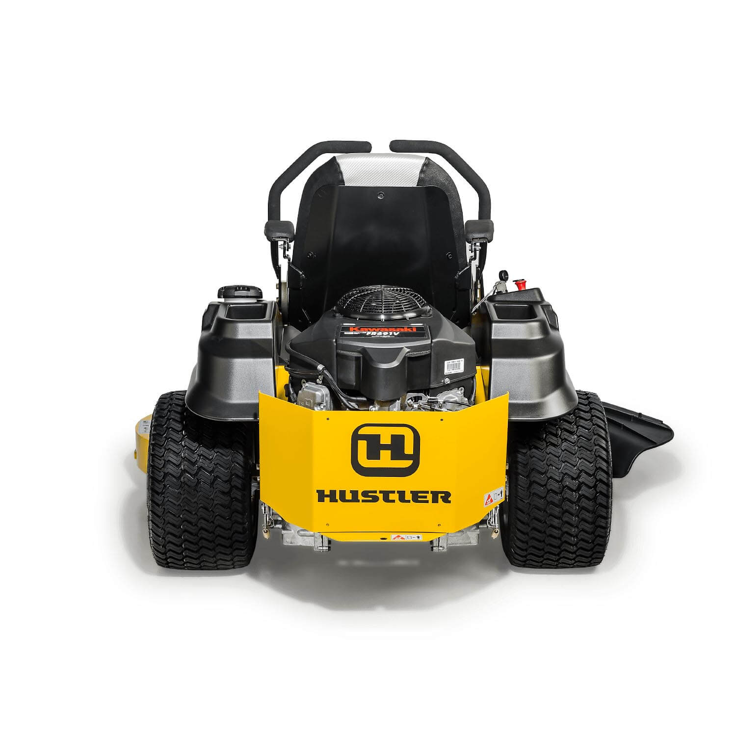 Image of the rear of a yellow Hustler mower
