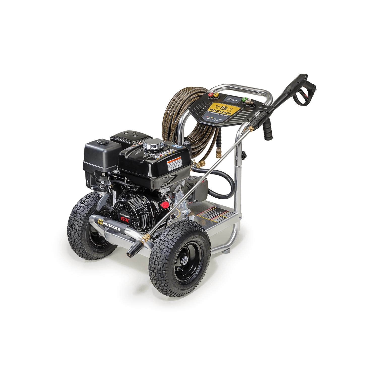 Image of front three quarters of a pressure washer