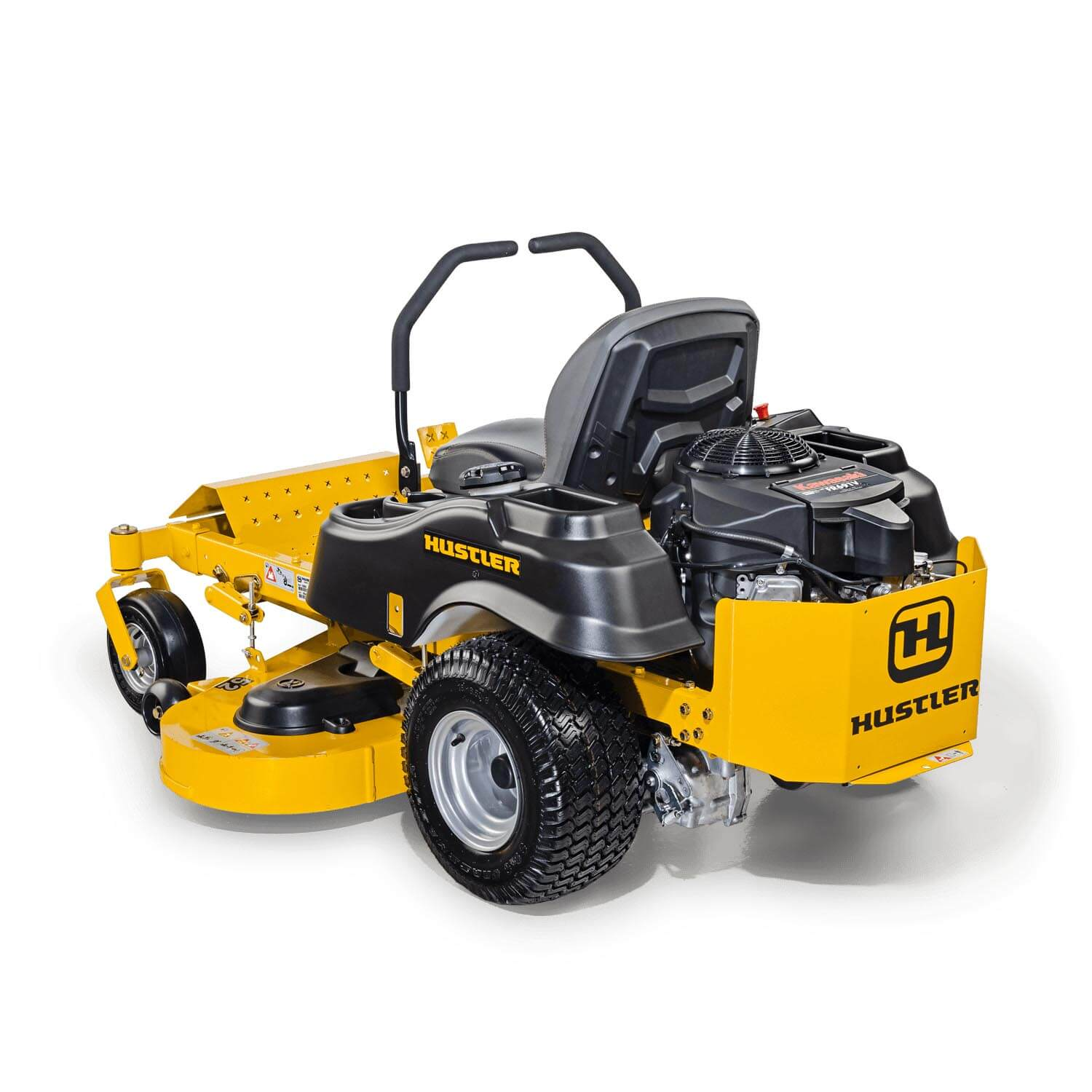 Image of the rear three quarters of a yellow Hustler mower