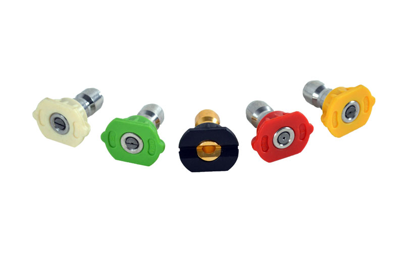 Image of 5 different colored nozzles
