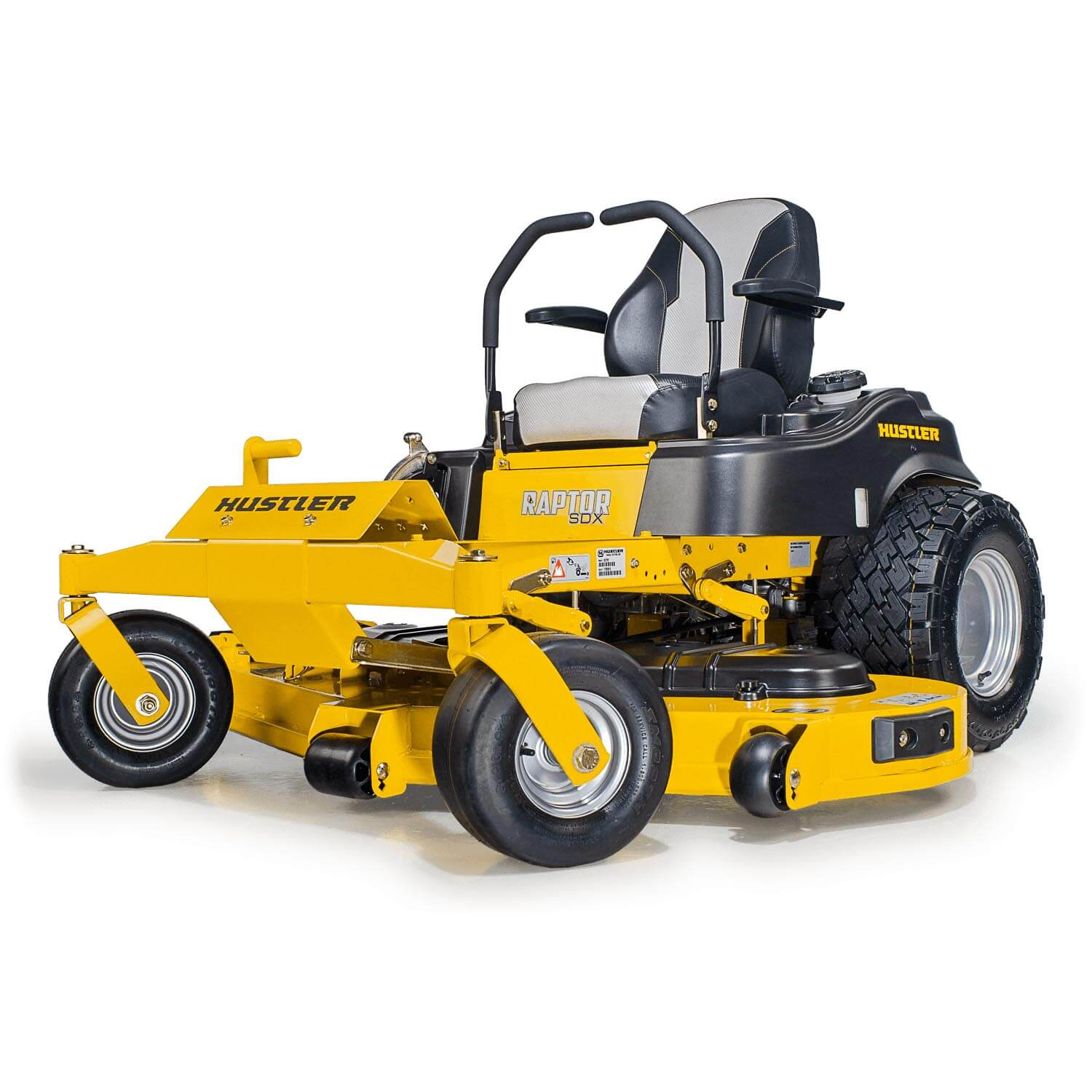 Image of front three quarters of yellow mower showing trim edge of deck