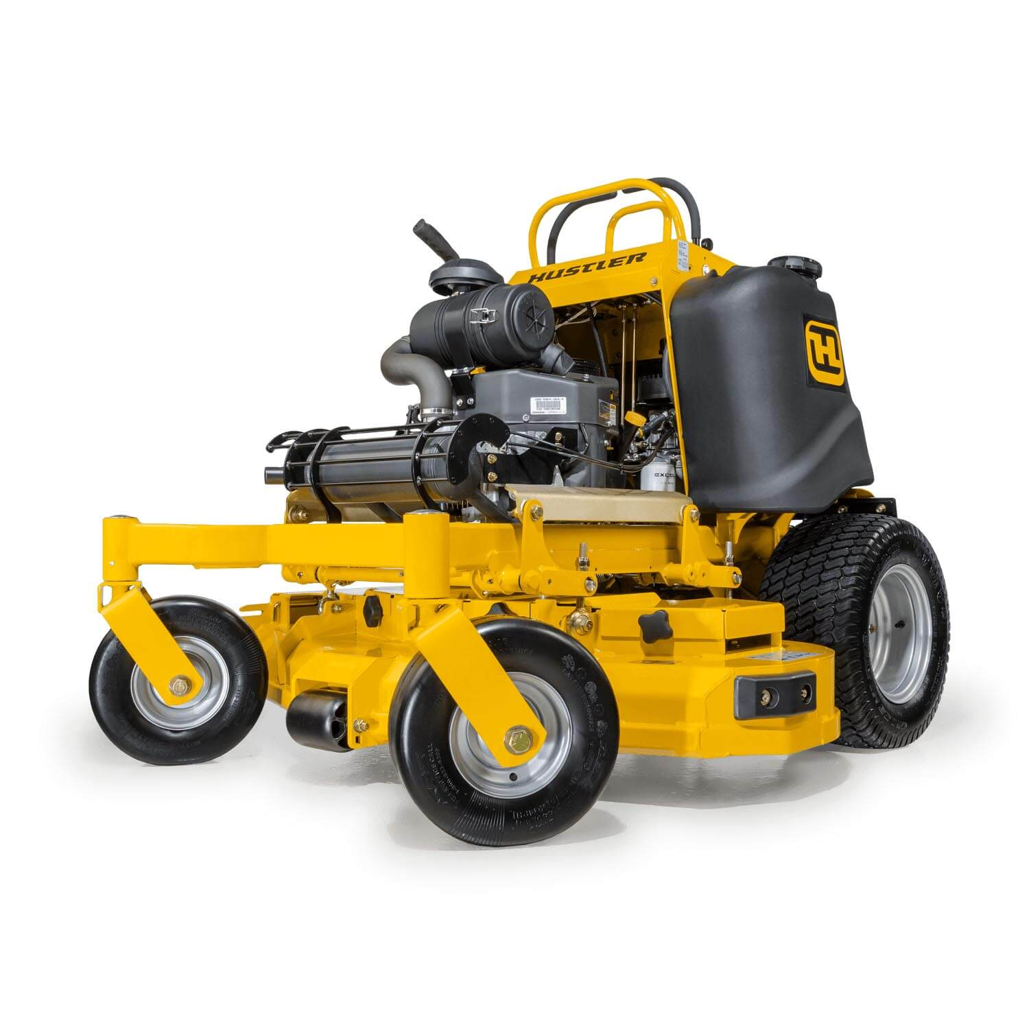 Image of the profile of a yellow stand-on mower showing the trim edge of the deck