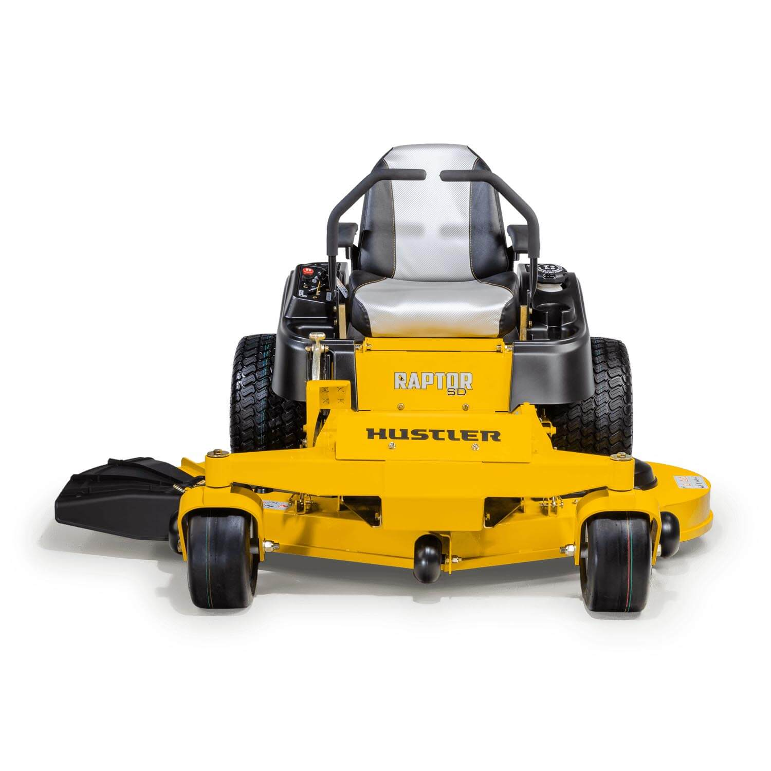 Image of the front of a yellow Hustler mower
