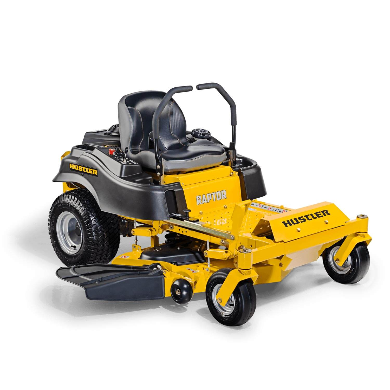 Image of the front three quarters of a yellow Hustler mower