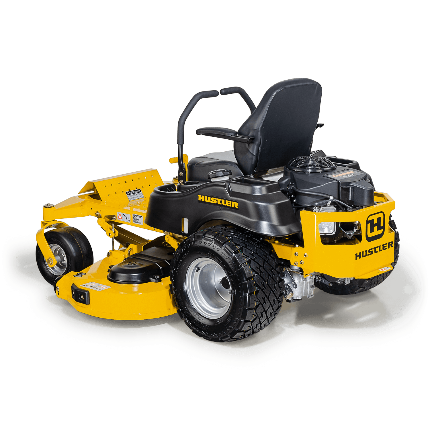 Image of rear three quarters of yellow mower showing trim edge of deck