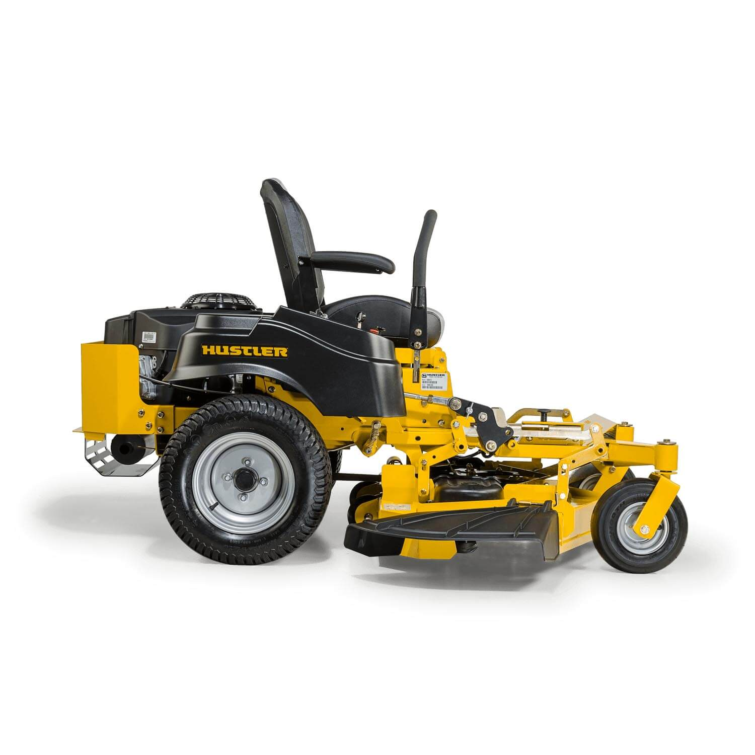 Image of the profile of a yellow riding mower